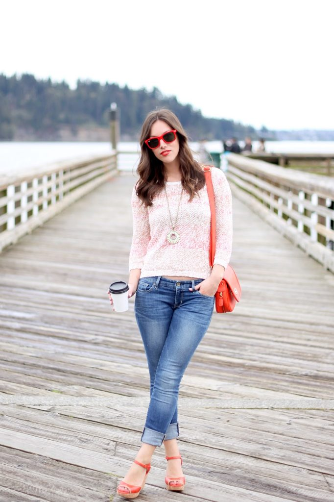 Vancouver style blogger Alexandra Grant of To Vogue or Bust wears Left on Houston sweater, Gap jeans, LUSH lipstick, Miz Mooz shoes, lia sophia necklace and bag from P L E N + Y.