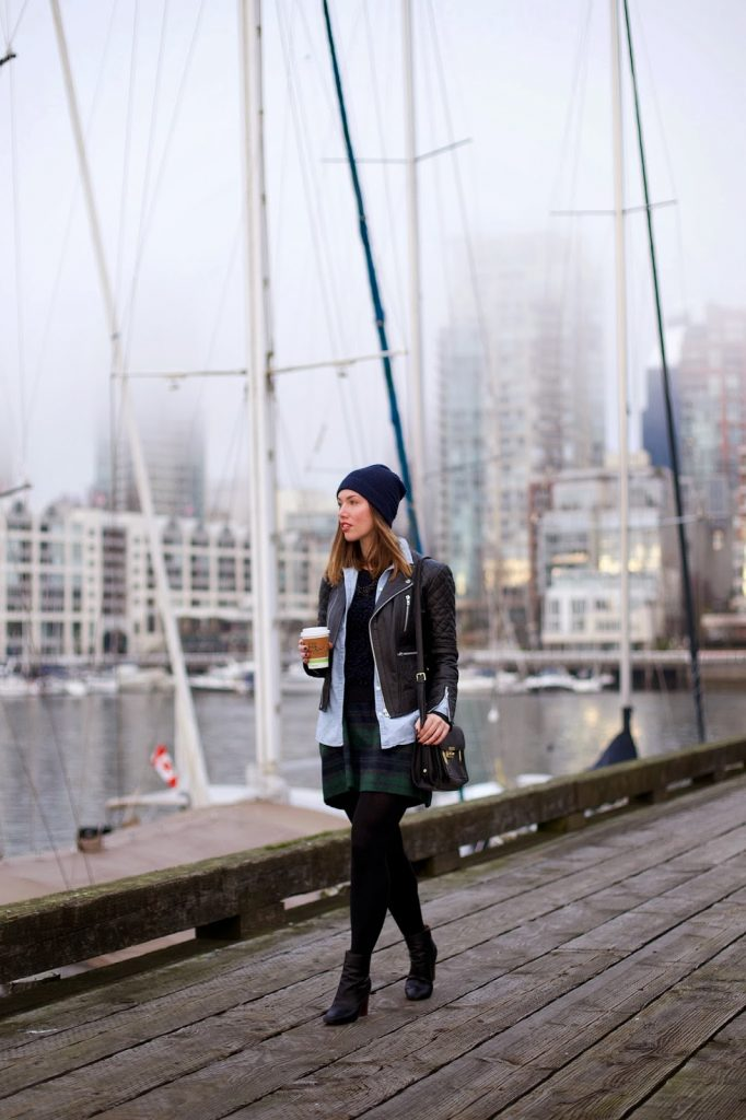 To Vogue or Bust in Walter Baker leather jacket, Joe Fresh plaid skirt, Old Navy chambray top, Rachel Roy sweater, Zara booties, 3.1 Phillip Lim for Target bag, Joe Fresh toque, vancouver style blog, vancouver style blogger, vancouver fashion blogger, vancouver fashion, canadian fashion blog, alexandra grant