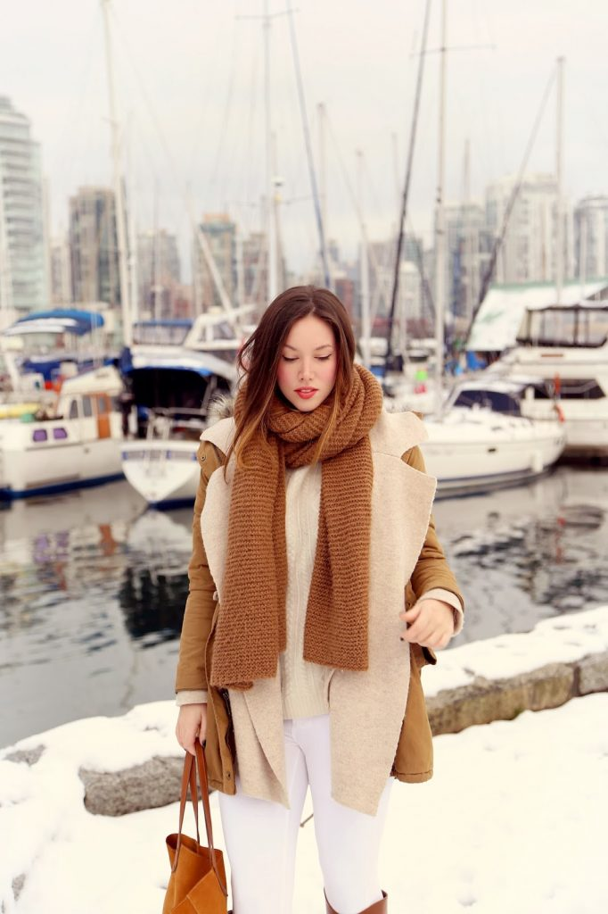 to vogue or bust, vancouver style blog, vancouver fashion blog, vancouver fashion, canadian fashion blog, alexandra grant, winter whites, club monaco cashmere sweater, old navy fur trimmed parka, joe fresh skinny jeans, sole society riding boots, massimo dutti tote, zara knit scarf, winter style