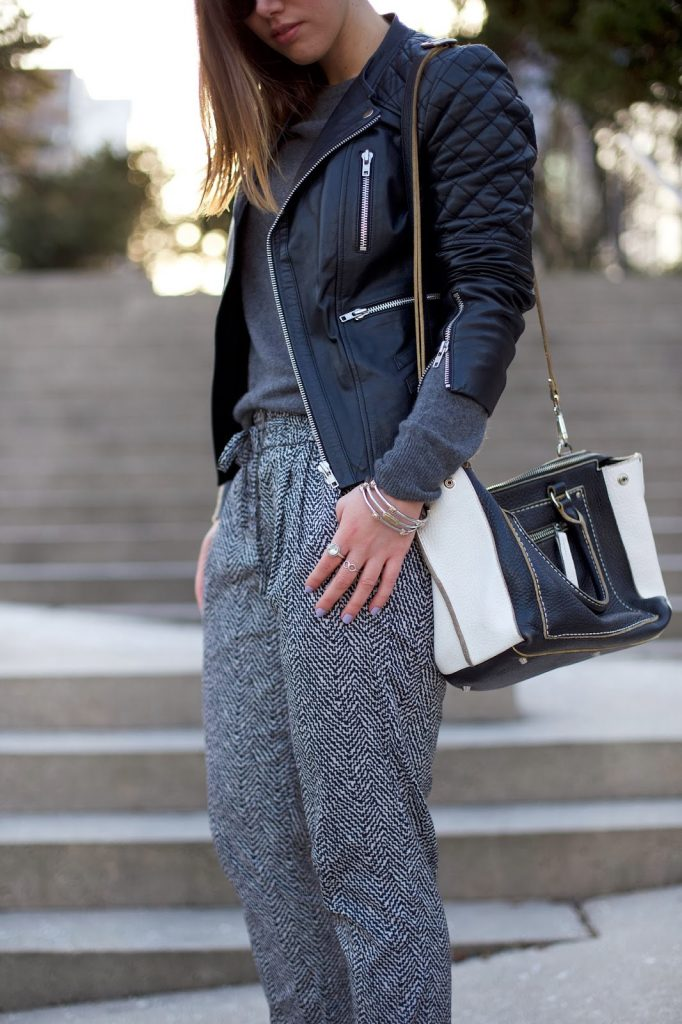 To Vogue or Bust in Walter Baker leather jacket, Joe Fresh cashmere crewneck sweater, Scotch and Soda printed pants, J.Crew Everly heels, Roots Canada leather bag