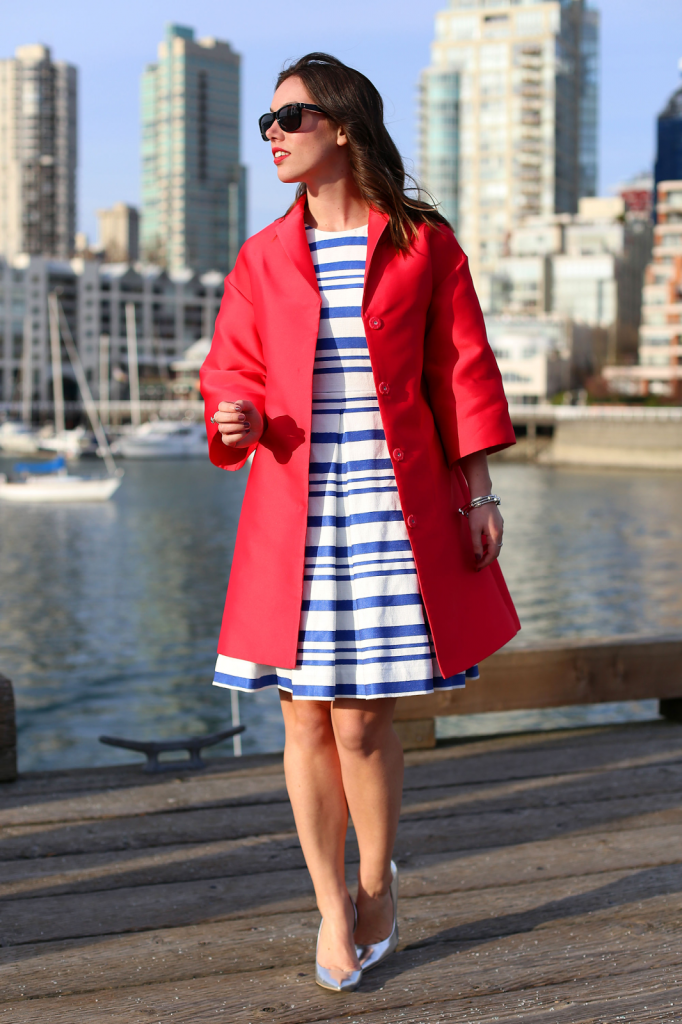to vogue or bust, vancouver style blog, vancouver fashion blog, vancouver style, vancouver fashion, canadian fashion blog, alexandra grant, 424 fifth satin topper, 424 fifth dress, call it spring heels, forever 21 bangles, nautical style