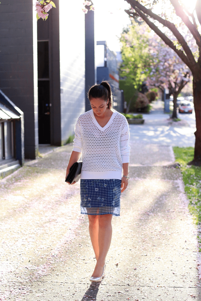 to vogue or bust, vancouver style blog, vancouver fashion blog, vancouver fashion, canadian fashion blog, alexandra grant, 424 fifth skirt, 424 fifth sweater, call it spring heels, vintage bag, brooklyn designs ring, how to mix print and texture