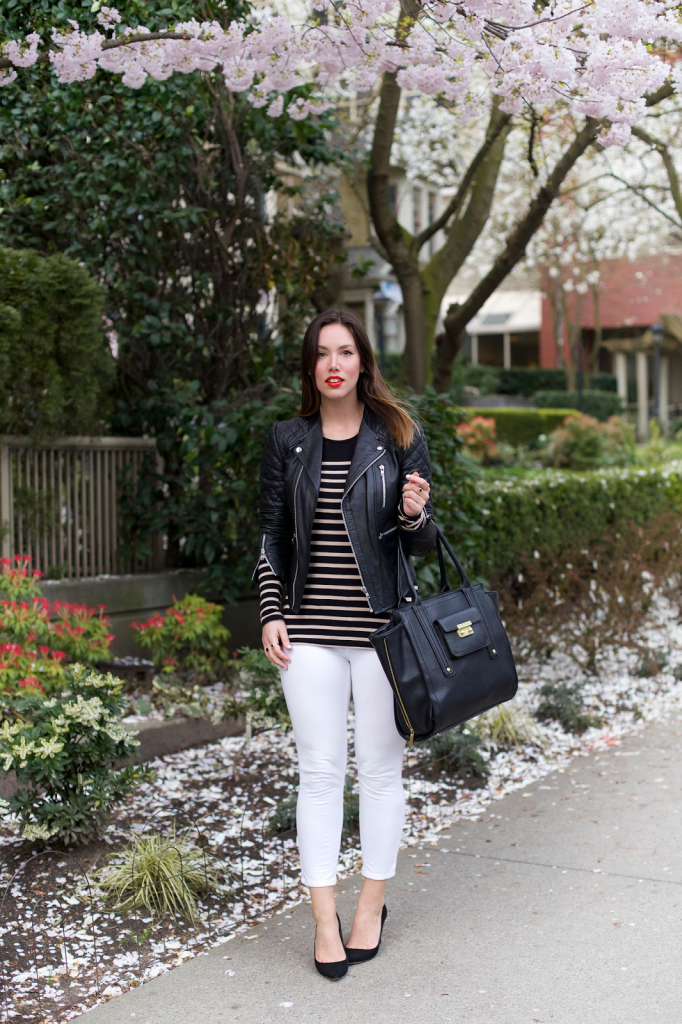 to vogue or bust, vancouver style blog, vancouver fashion blog, vancouver fashion, canadian fashion blog, alexandra grant, classic style, styling white denim for spring, forever 21 shirt, joe fresh jeans, walter baker leather jacket, j.crew everly heels, 3.1 phillip lim for target bag, how to do a cat eye, mandarin lipstick
