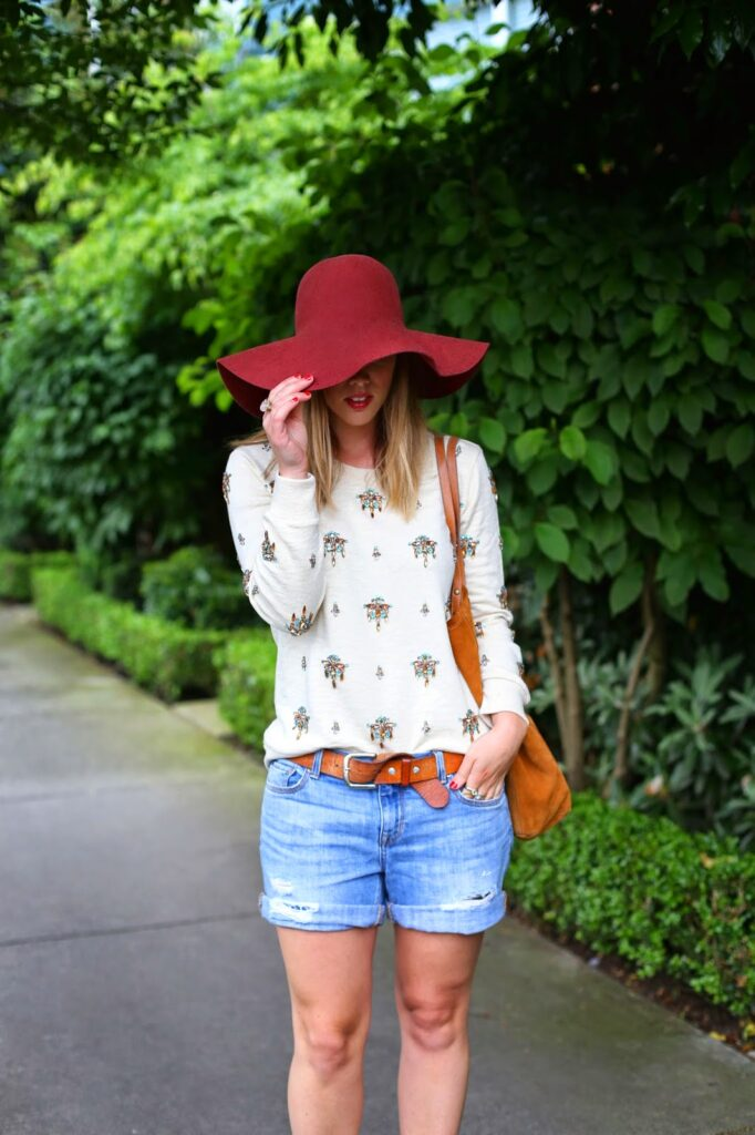 to vogue or bust, vancouver style blog, vancouver fashion blog, vancouver fashion, canadian fashion blog, alexandra grant, j.crew event, j.crew sweater, gap boyfriend denim shorts, sole society france pumps, massimo dutti tote, h and m hat, floppy hat, casual spring style