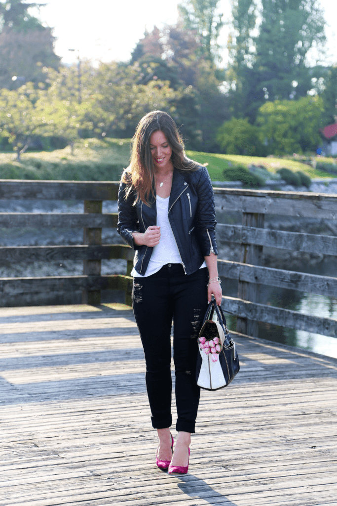 to vogue or bust, vancouver style blog, vancouver fashion blog, alexandra grant, canadian fashion blog, james jeans skinny jeans, diane von furstenberg heels, everlane ryan tee, walter baker leather jacket, roots canada bag, keltie leanne necklace, brooklyn designs ring, spring style, pop of pink