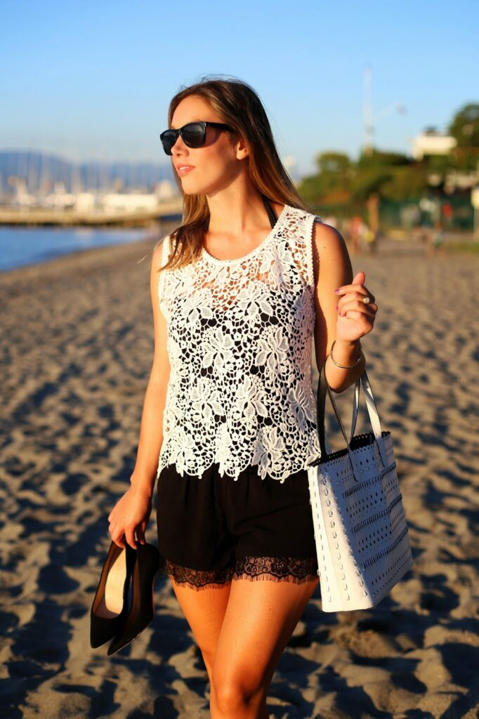to vogue or bust, vancouver style blog, vancouver fashion blog, vancouver style, vancouver fashion, canadian fashion blog, alexandra grant, everyday sunday swimsuit, how to style a one piece swimsuit, retro swimsuit, gentle fawn shorts, lace loft shirt, j.crew everly pumps, french connection bag, viva blanca jewelry, beach to street, beach to street outfit, beach to street style, top style blog, top vancouver style blog, best vancouver fashion blog