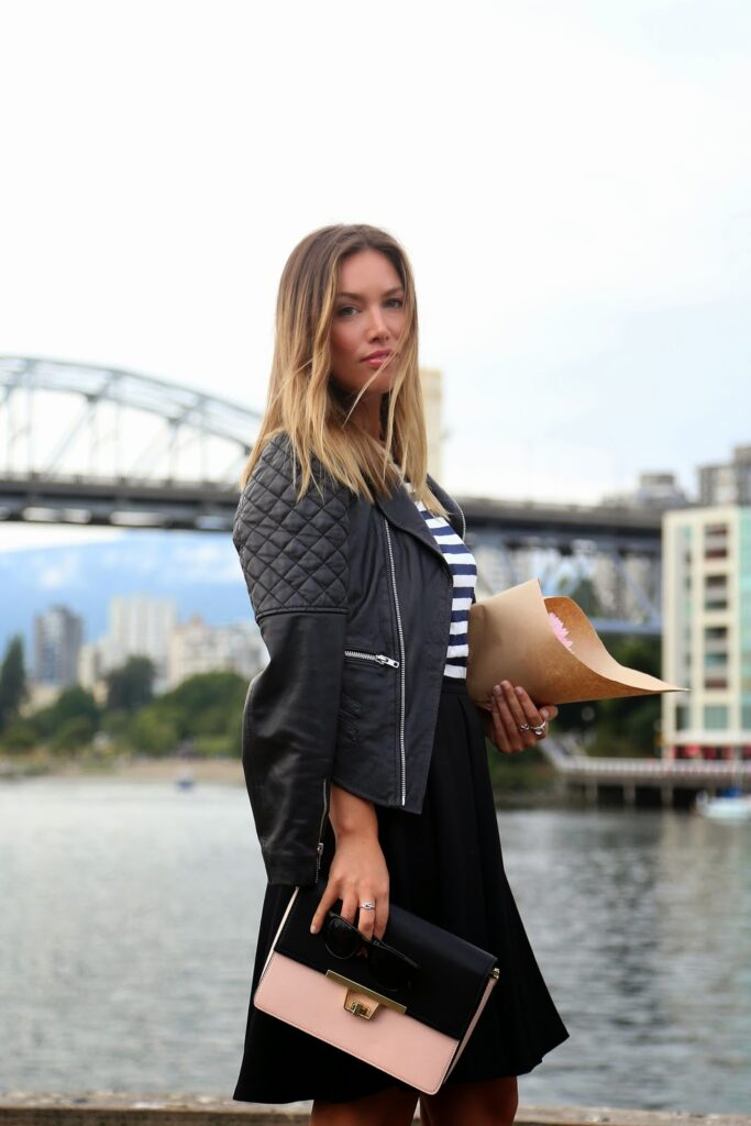 to vogue or bust, vancouver style blog, vancouver fashion blog, vancouver fashion, vancouver style, canadian fashion blog, alexandra grant, canadian style blog, parisian chic, how to dress like a parisian, striped h and m top, black obakki skirt, black h and m ankle strap heels, walter baker leather jacket, zara rose pink color block clutch, what to wear to the market, stylish market outfit, paris style, layering for the summer