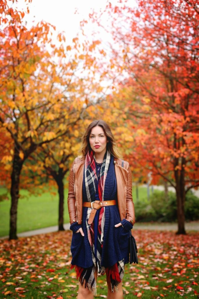 to vogue or bust, vancouver style blog, vancouver fashion blog, vancouver travel blog, canadian fashion blog, canadian style blog, canadian travel blog, alexandra grant, belted cardigan trend, belted scarf trend, how to wear the belted scarf trend, how to belt your scarf, how to belt your cardigan, how to wear the belted cardigan trend, joe fresh plaid scarf, fall plaid trend, how to wear a plaid scarf, how to wear a tartan scarf, gentle fawn navy lace dress, old navy knit cardigan, forever 21 leather moto jacket, massimo dutti ankle boots, ombre brunette hair, what to wear to a holiday party, cute holiday party outfit ideas, holiday style