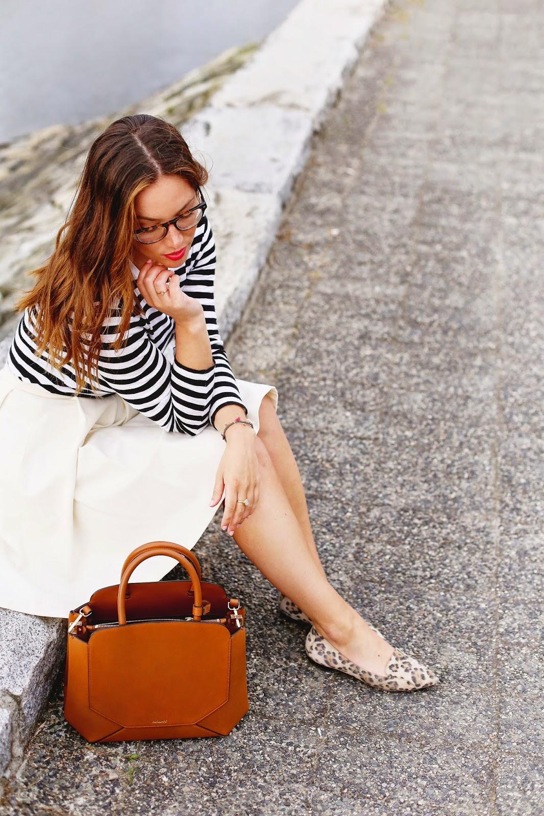 white-skirt-stripe-shirt