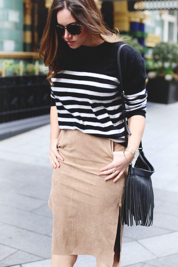Aritzia suede pencil skirt, striped sweater.