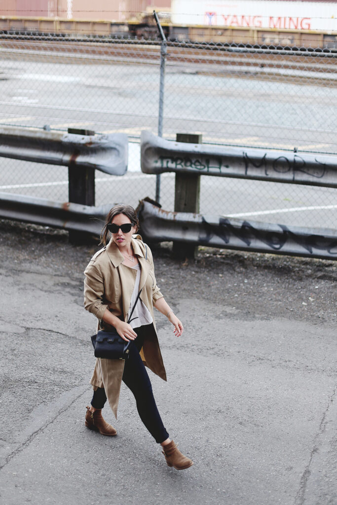 Camel trench coat, silk Aritzia shirt, black skinny jeans, ankle boots