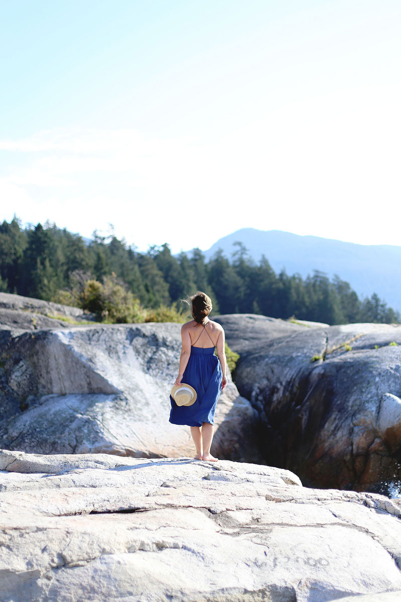 To Vogue or Bust wearing Wilfred by Aritzia dress at Lighthouse Park, Vancouver, Canada