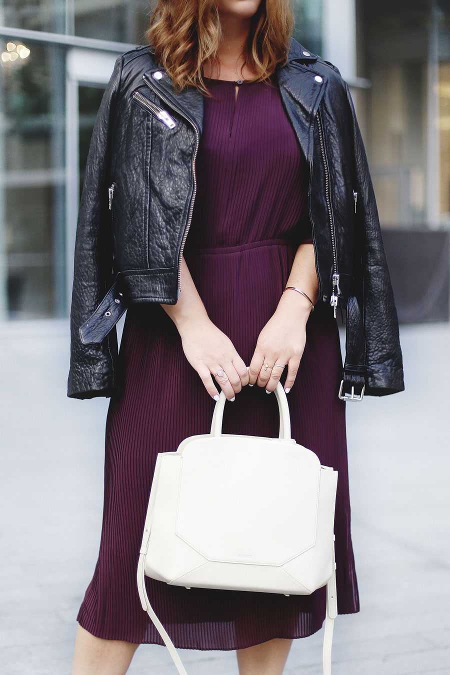 To Vogue or Bust shares details about the Aritzia warehouse sale 2016 in a Wilfred silk pleated dress, Mackage Rumer leather jacket, Aritzia Auxiliary Bega bag and black pumps.