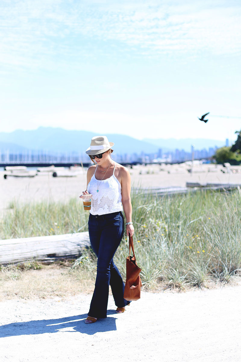 To Vogue or Bust in Mavi flared jeans, Urban Outfitters crochet top, Madewell leather bag, Aritzia straw hat at Jericho Beach in Vancouver