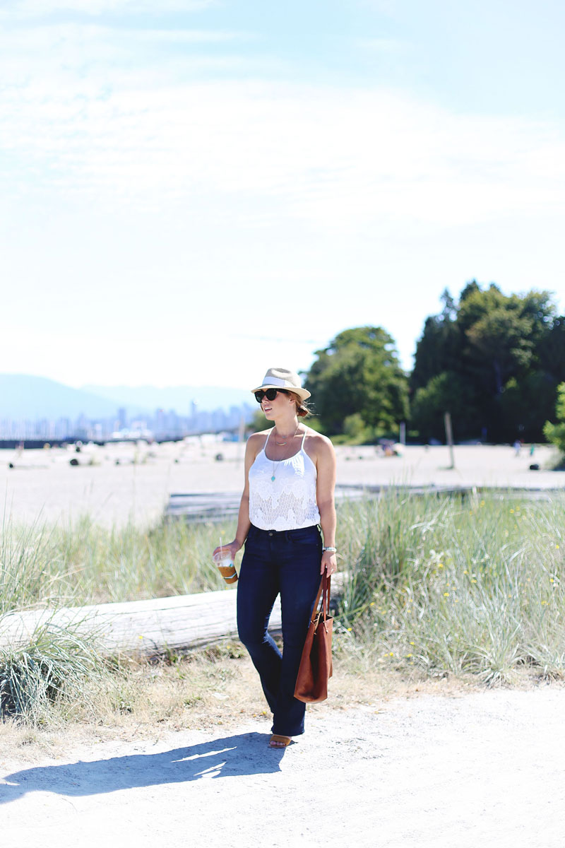 To Vogue or Bust in Mavi flare jeans, Urban Outfitters crochet top, Madewell leather bag, Aritzia straw hat at Jericho Beach in Vancouver