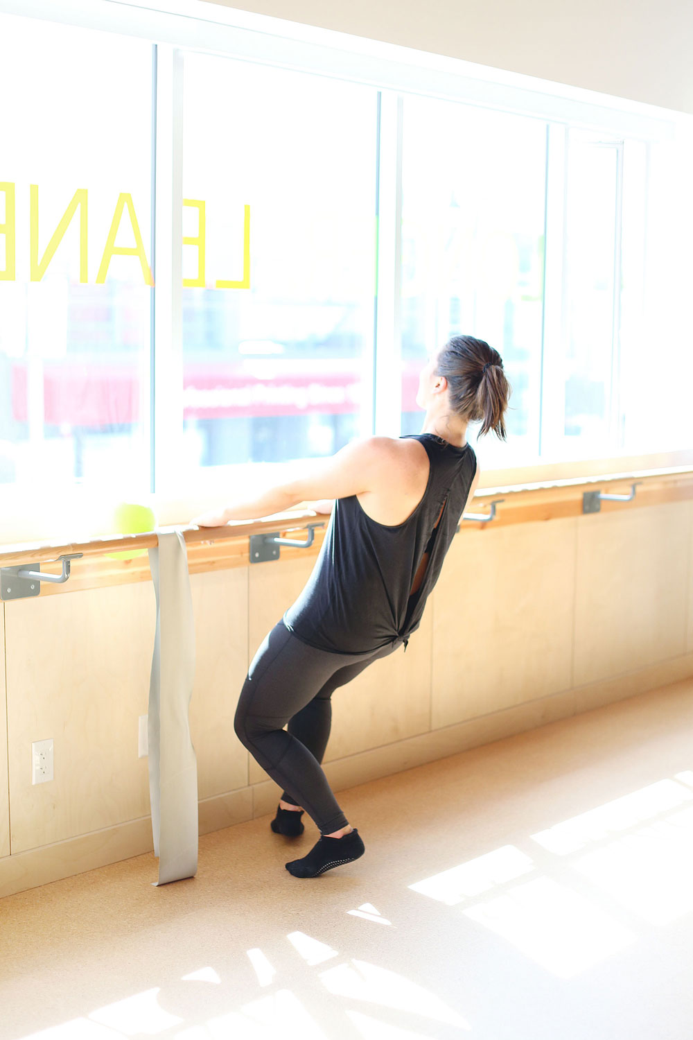 Barre workout for toned legs