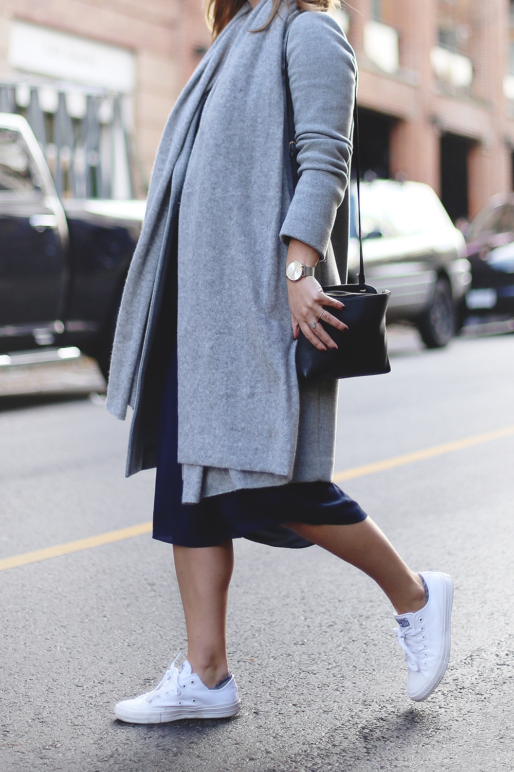 How to wear Converse sneakers with a dress in an Aritzia dress, White + Warren cashmere travel wrap, Converse white sneakers, Celine sunglasses styled by To Vogue or Bust