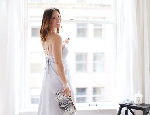 What to wear to a holiday party in Park & Fifth silk maxi dress, Raye blush heels and Ted Baker snakeskin clutch