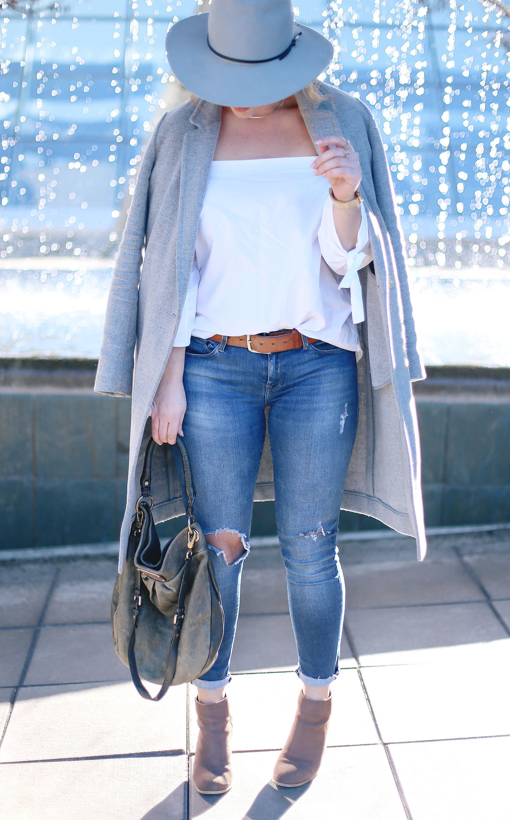 Aritzia off the shoulder white top, Aritzia grey wool coat, Mavi skinny jeans, Marc Jacobs olive green bag, Urban Outfitters suede ankle boots, Aritzia grey wool fedora, Cluse gold mesh watch and Celine sunglasses - how to style off the shoulder tops