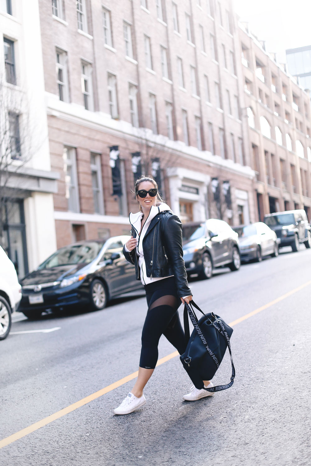 Cute workout outfit ideas in Public Myth leggings, Adidas hoodie, Mackage jacket, Converse, New Balance sneakers styled by To Vogue or Bust