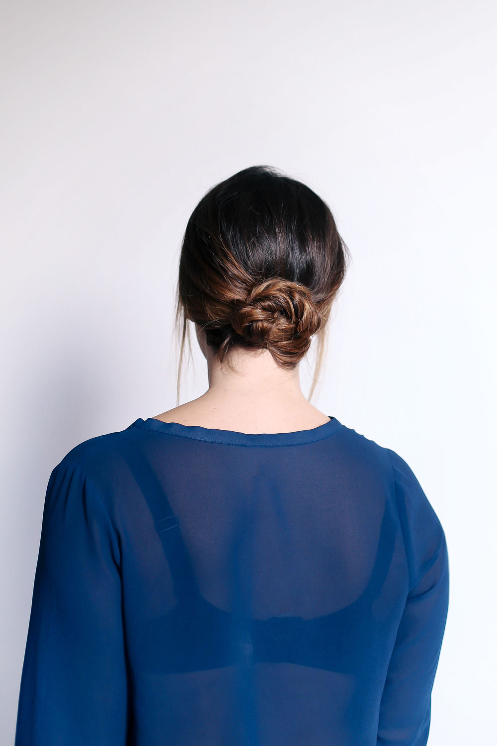 How to create a braided knot, second day hairstyle, with John Freida, Brilliant Brunette Visibly Deeper collection by To Vogue or Bust