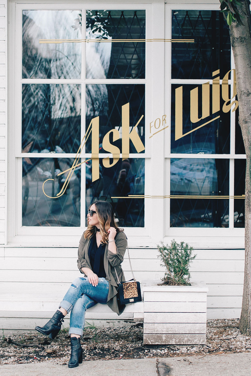 Romantic restaurants in Vancouver at Ask for Luigi, best date night spots in Vancouver, in Frye ankle boots, boyfriend jeans, skinny scarf, Revolve trench coat by To Vogue or Bust