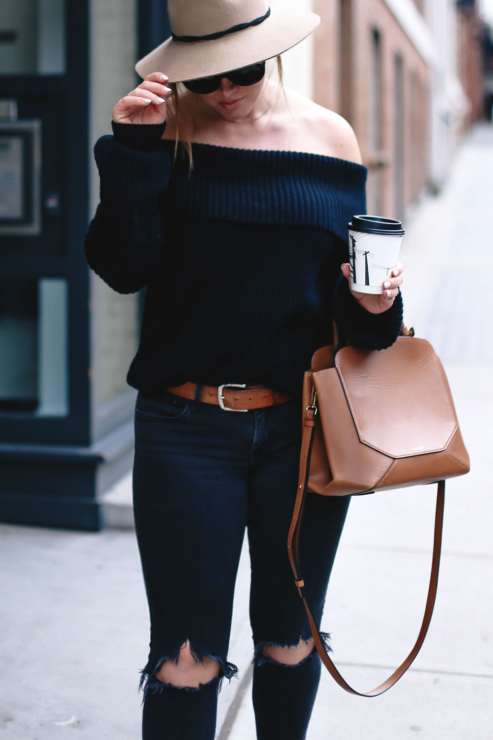 How to style off the shoulder sweaters in LPA sweater, Revolve clothing, Leah Alexandra rings, Celine sunglasses, Aritzia bag, Express fedora, suede booties styled by To Vogue or Bust