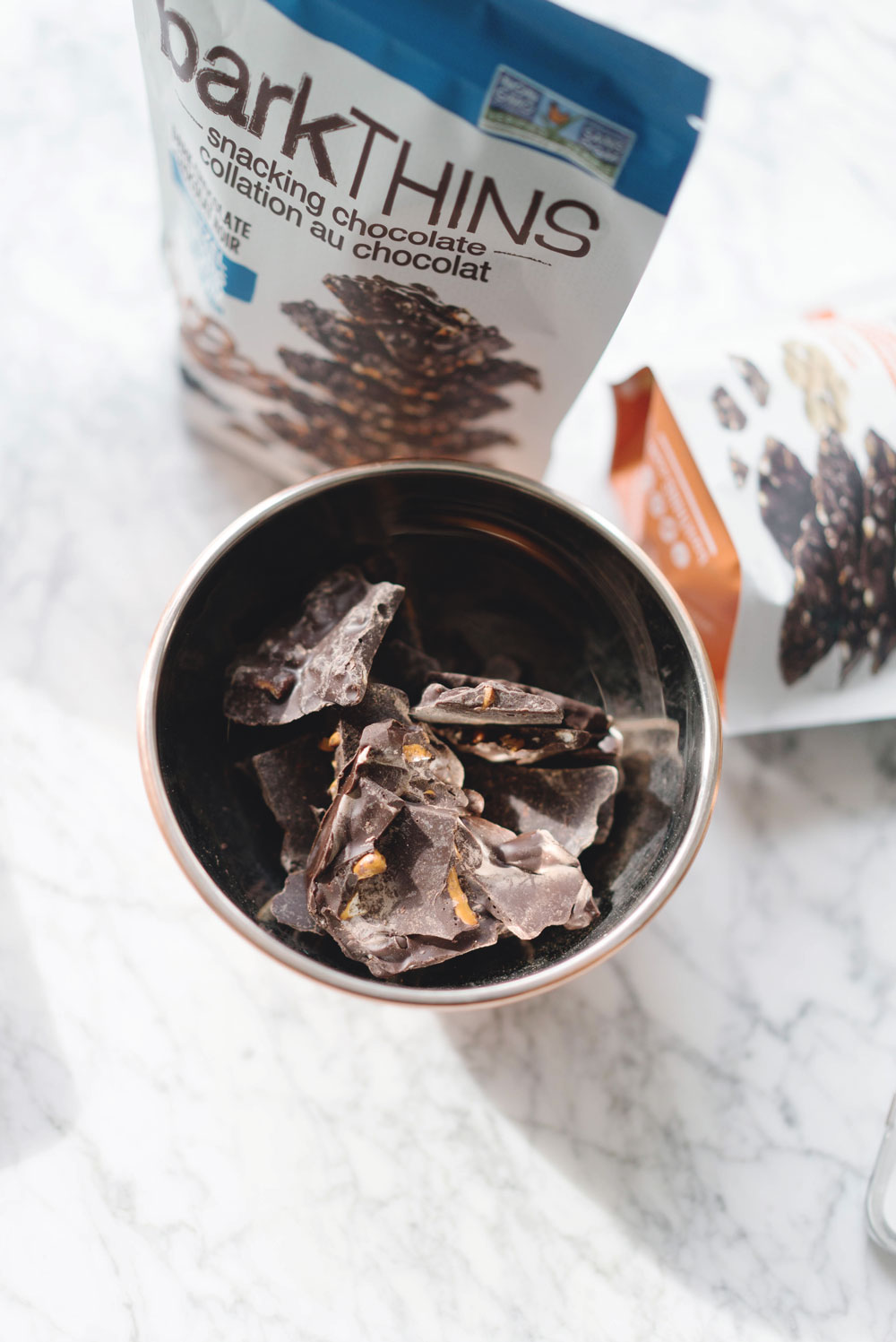 Best dark chocolate snacks, barkTHINS, betterwithbarkTHINS, snackingelevated, pumpkin seed barkTHINS, pretzel with sea salt barkTHINS, almond with sea salt barkTHINS, best snacks by To Vogue or Bust