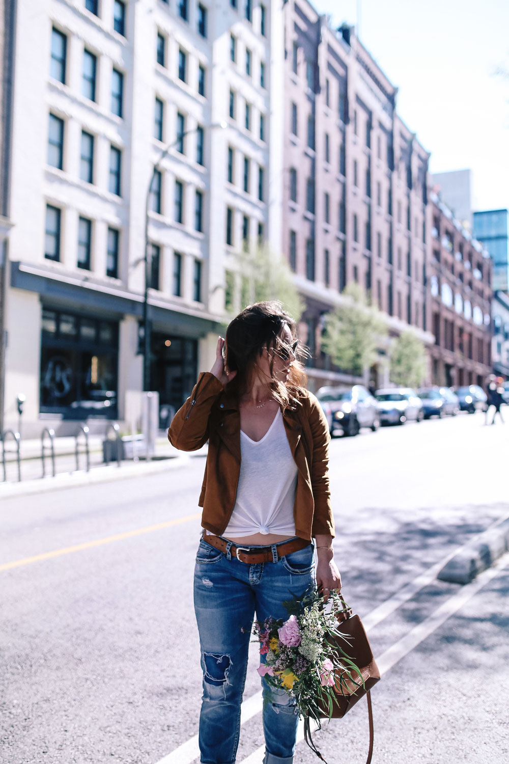 how to wear boyfriend jeans, casual outfit ideas in jcrew heels, mavi t shirt, aritzia auxiliary bag, suede moto jacket outfit ideas, revolve suede jacket, silver jeans boyfriend jeans, casual weekend outfit ideas by To Vogue or Bust