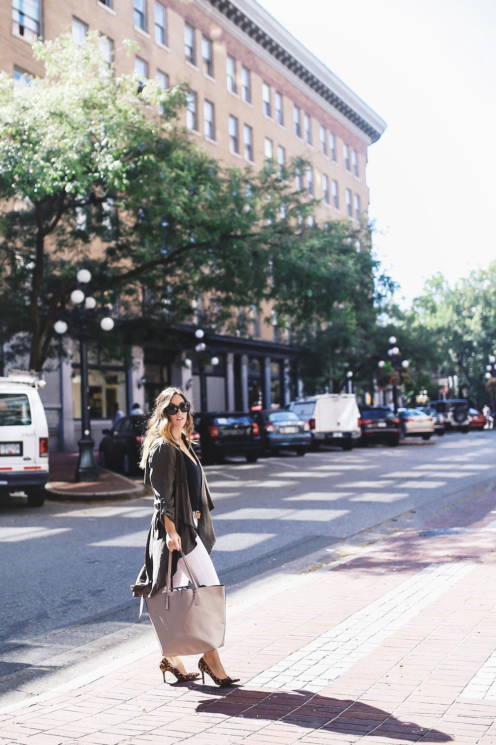White denim and Revolve trench coat by To Vogue or Bust