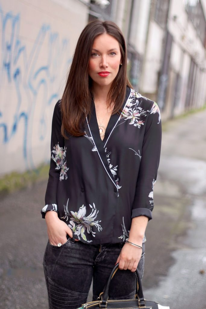 Style blogger Alexandra Grant of To Vogue or Bust wears Zara Canada silk blouse, Roots Canada Pop Art The Little Brooklyn, Pandora ring, Coach studs, Birks bangle, James Jeans moto skinnies, Michael Kors heels