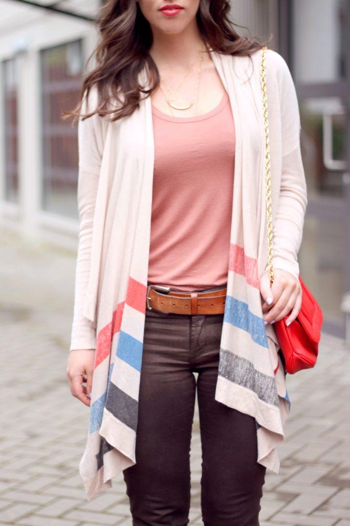 Style blogger Alexandra Grant of To Vogue or Bust wears James Jeans coated Twiggy skinnies, Left on Houston cardigan, Club Monaco T-shirt, Mary Nichols Laura clutch, Joe Fresh heels