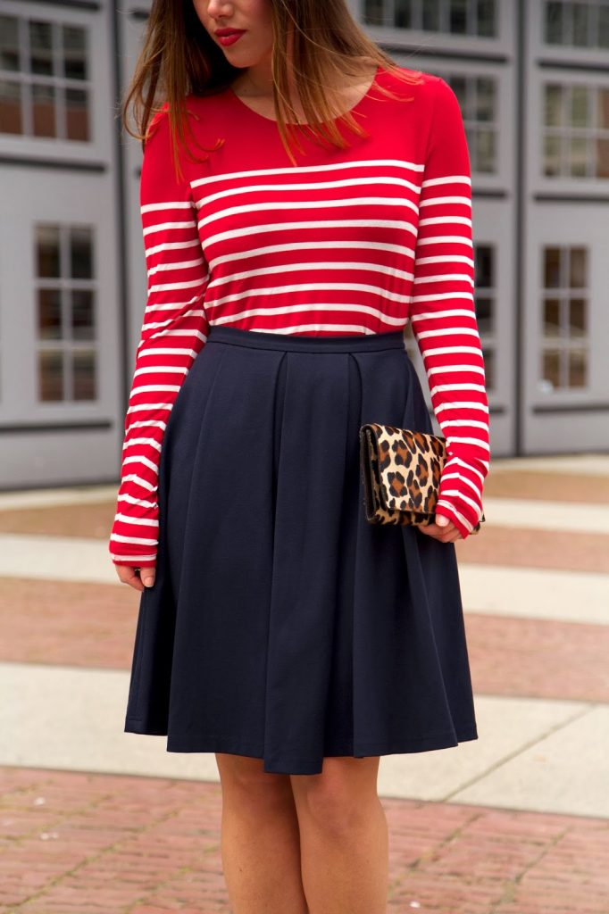 to vogue or bust, vancouver style blog, vancouver fashion blog, vancouver fashion, alexandra grant, canadian fashion blog, parisian chic, forever 21 striped shirt, obakki pleated skirt, j.crew everly heels, club monaco leopard clutch, club monaco trench coat, winter style