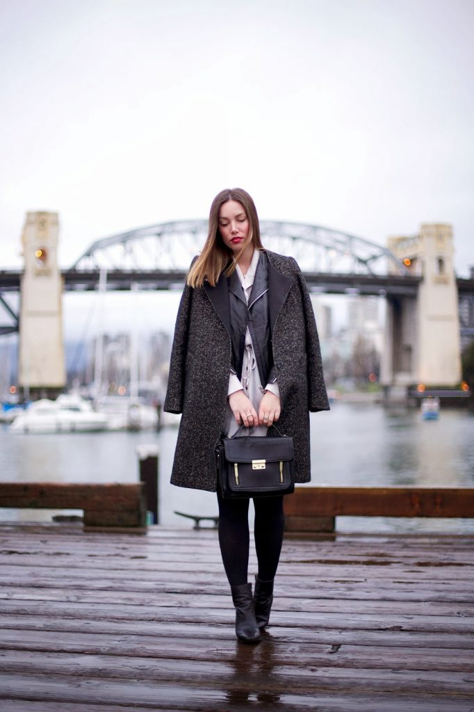 to vogue or bust, vancouver style blog, vancouver fashion blog, vancouver fashion, alexandra grant, h&m coat, walter baker leather jacket, obakki dress, zara booties, 3.1 phillip lim for target bag, winter style, layered winter style