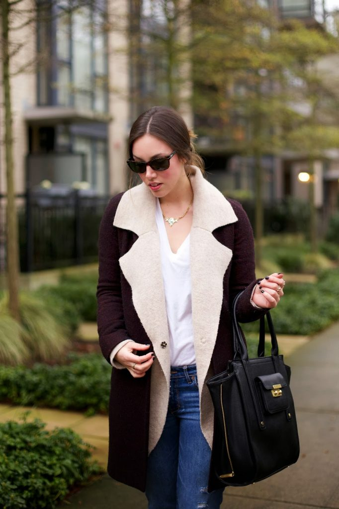 To Vogue or Bust   Casual Layered Look, wilfred by aritzia coat, abercrombie and fitch ripped boyfriend jeans, j.crew everly heels, 3.1 phillip lim for target bag, persol sunglasses, olive and piper necklace, stacked rings, free people sweater jacket, vancouver style blog, vancouver fashion blog, vancouver fashion, canadian fashion blog, canadian style blog, alexandra grant
