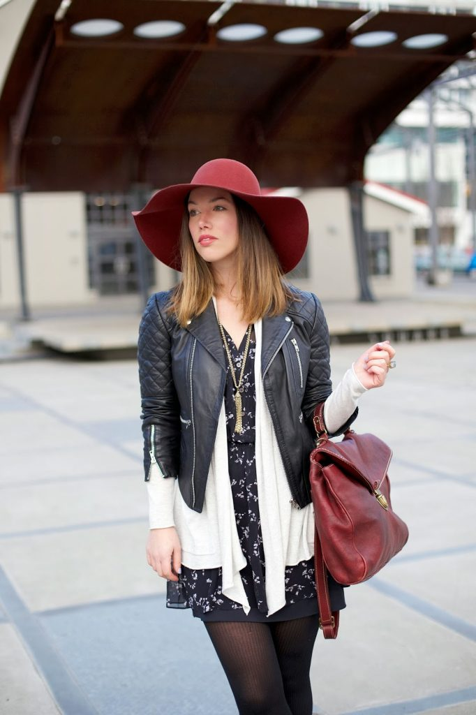 To Vogue or Bust in H&M floppy hat, Walter Baker leather jacket, Left on Houston grey cardigan, Club Monaco floral shirtdress, Zara booties, Roots bag, Loft necklace, Social Experiment ring, alexandra grant, vancouver style blog, vancouver fashion blog, vancouver style, canadian fashion blog
