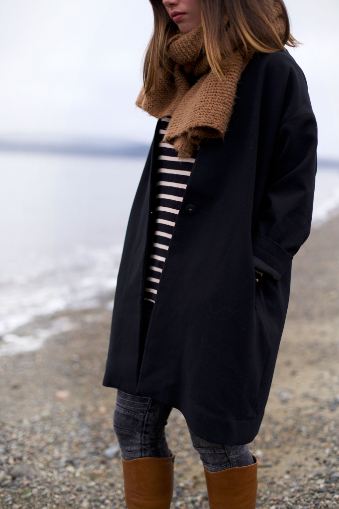 To Vogue or Bust in Oak + Fort black coat, Forever 21 striped shirt, James Jeans moto skinny jeans, Sole Society Carolyn boots, Zara knit scarf, vancouver style, vancouver fashion, vancouver style blog, vancouver fashion blog, canadian fashion blog, alexandra grant