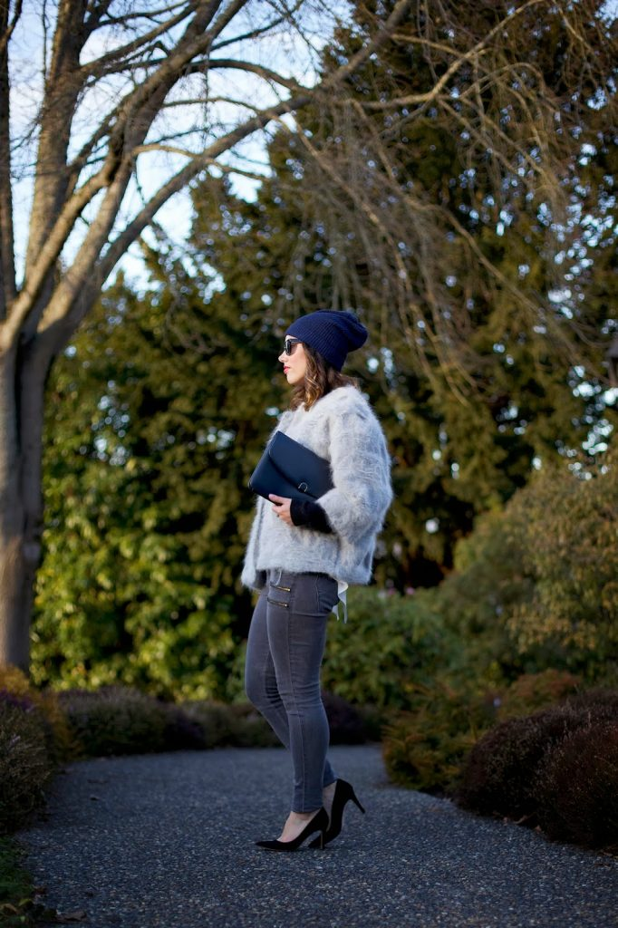 To Vogue or Bust in tomboy layers, Obakki jacket, Rachel Roy sweater, Rachel Roy blouse, James Jeans crux skinny jeans, J.Crew Everly heels, vintage bag, Joe Fresh beanie, vancouver style blog, vancouver fashion blog, vancouver fashion, vancouver style, canadian fashion blog, alexandra grant