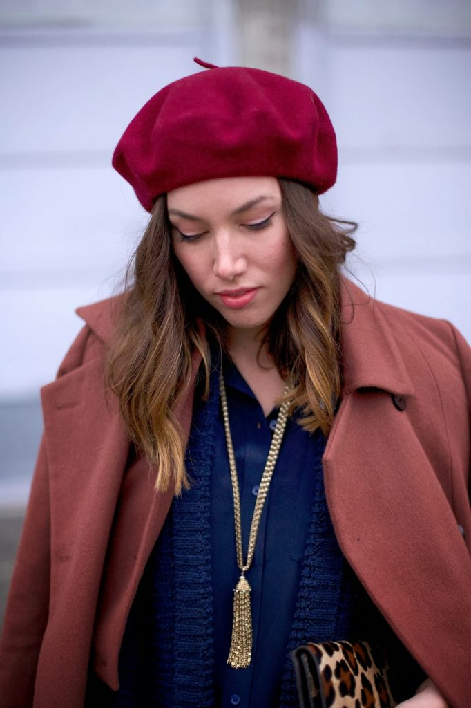 To Vogue or Bust | The Navy, american apparel beret, old navy sweater, obakki coat, joe fresh silk blouse, loft necklace, aritzia pants, sole society france leopard pumps, club monaco leopard clutch, vancouver style blog, vancouver fashion blog, vancouver fashion, vancouver style, canadian fashion blog, alexandra grant