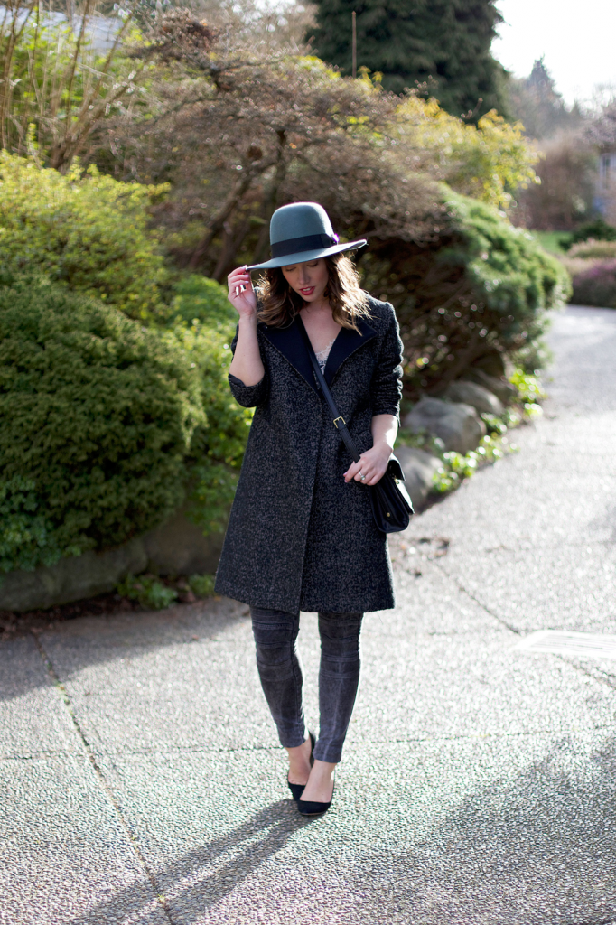 To Vogue or Bust in Brixton fedora hat, James Jeans moto skinny jeans, Club Monaco lace silk camisole, H&M coat, 3.1 Phillip  Lim for Target bag, J.Crew Everly heels, vancouver style blog, vancouver fashion blog, vancouver fashion, vancouver style, canadian fashion blog, alexandra grant, long bob curled, ombre bob