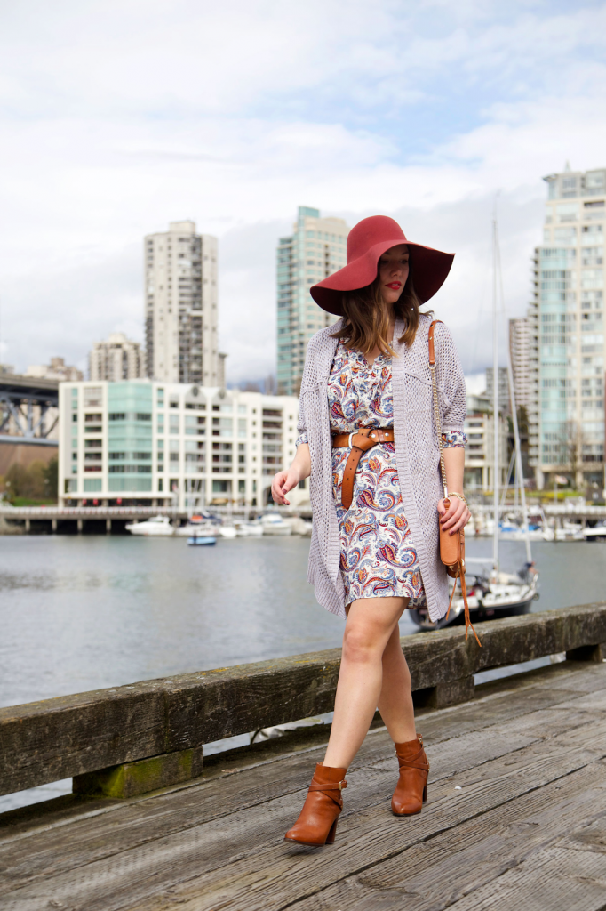 to vogue or bust, vancouver style blog, vancouver fashion blog, vancouver fashion, vancouver style, canadian fashion blog, alexandra grant, boutique onze dress, left on houston sweater, keltie leanne designs jewelry, massimo dutti booties, rebecca minkoff bag, h&m hat, seventies style