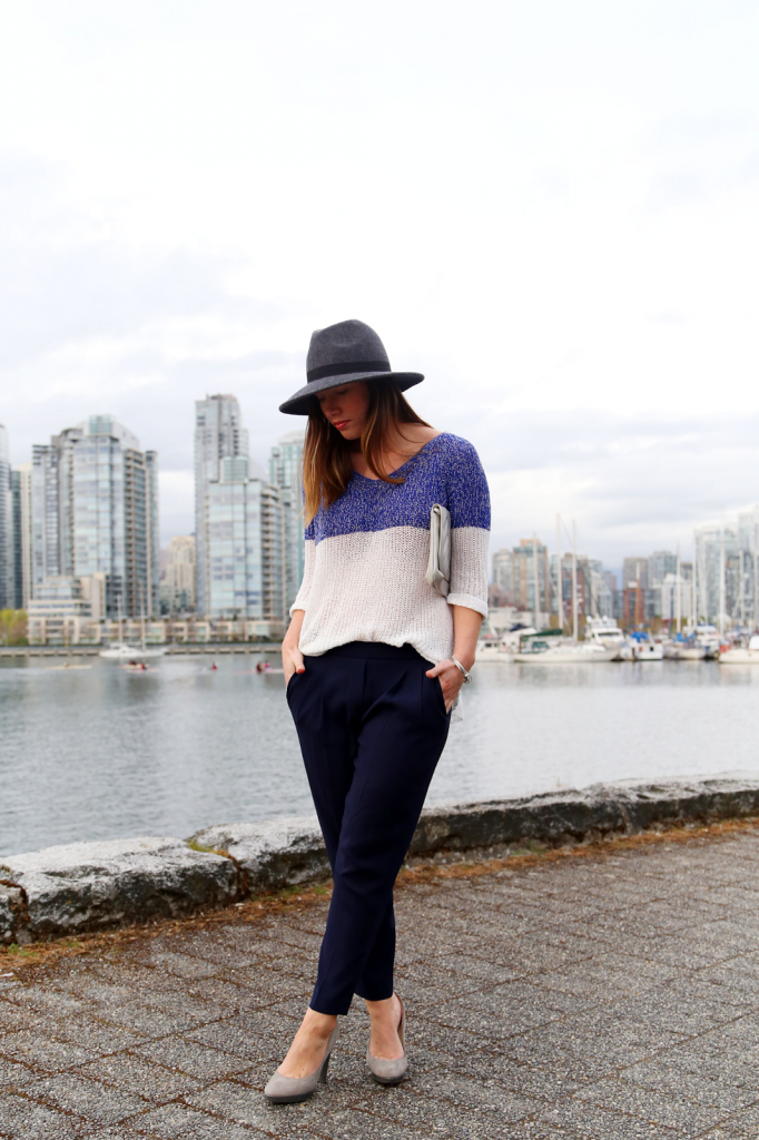 to vogue or bust, vancouver style blog, vancouver fashion blog, vancouver fashion, canadian fashion blog, alexandra grant, left on houston sweater, aritzia pants, michael kors heels, vintage clutch, brooklyn designs ring, french connection hat