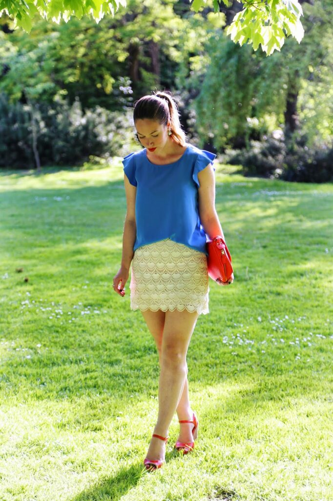 to vogue or bust, vancouver style blog, vancouver fashion blog, vancouver fashion, canadian fashion blog, alexandra grant, joe fresh blue top, club monaco lace cream skirt, miz mooz heels, plenty bag, sole society earrings, spring style
