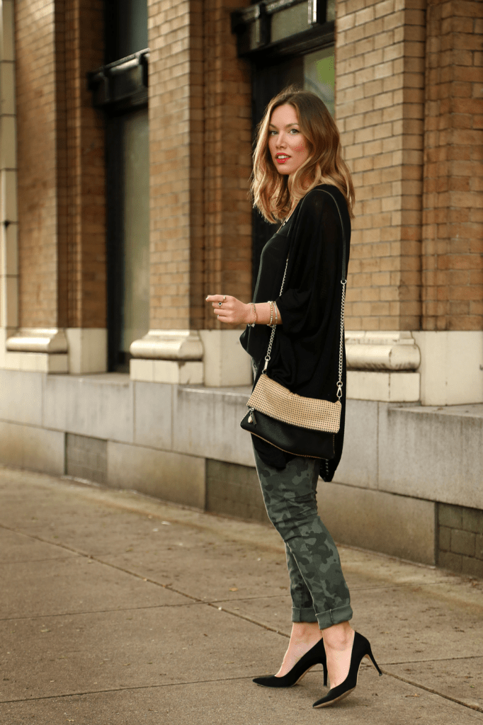 to vogue or bust, vancouver style blog, vancouver fashion blog, canadian fashion blog, alexandra grant, joe fresh camo pants, joe fresh silk tank top, left on houston cardigan, j.crew heels, loft bag, blonde ombre, spring style, camo pants for spring