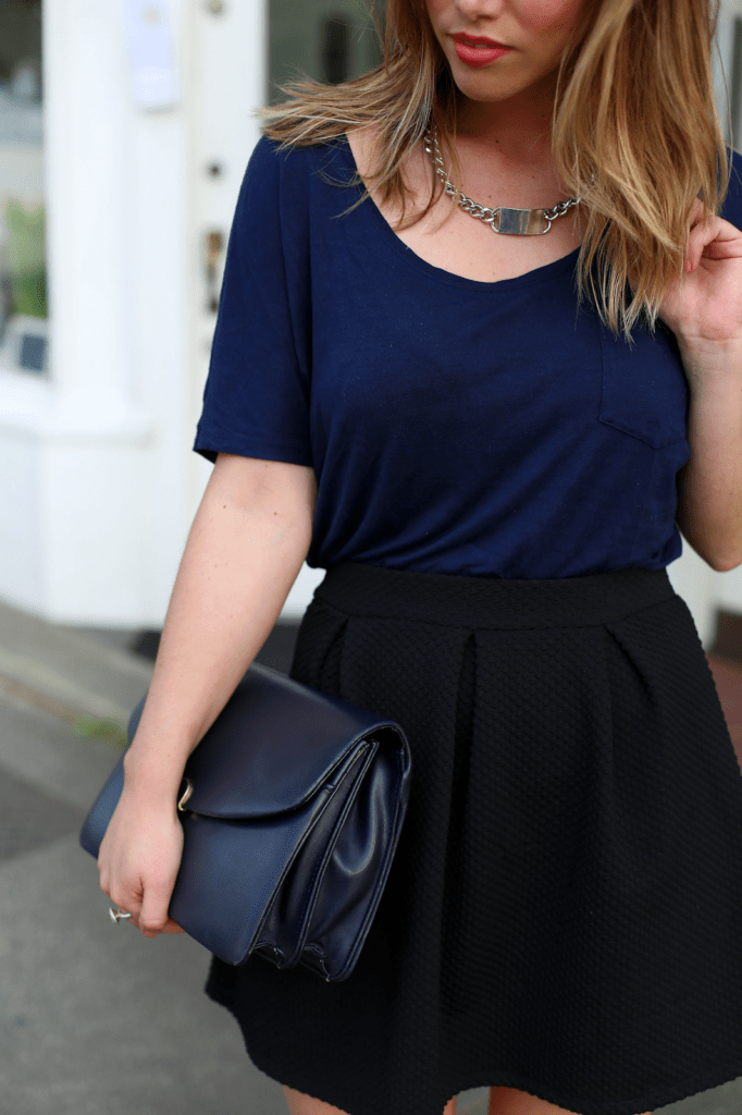 to vogue or bust, vancouver style blog, vancouver fashion blog, vancouver fashion, alexandra grant, canadian fashion blog, vancouver stylist, h&m skirt, everlane ryan shirt, sole society heels, vintage clutch, birds of a feather necklace, brooklyn designs ring, navy and blue