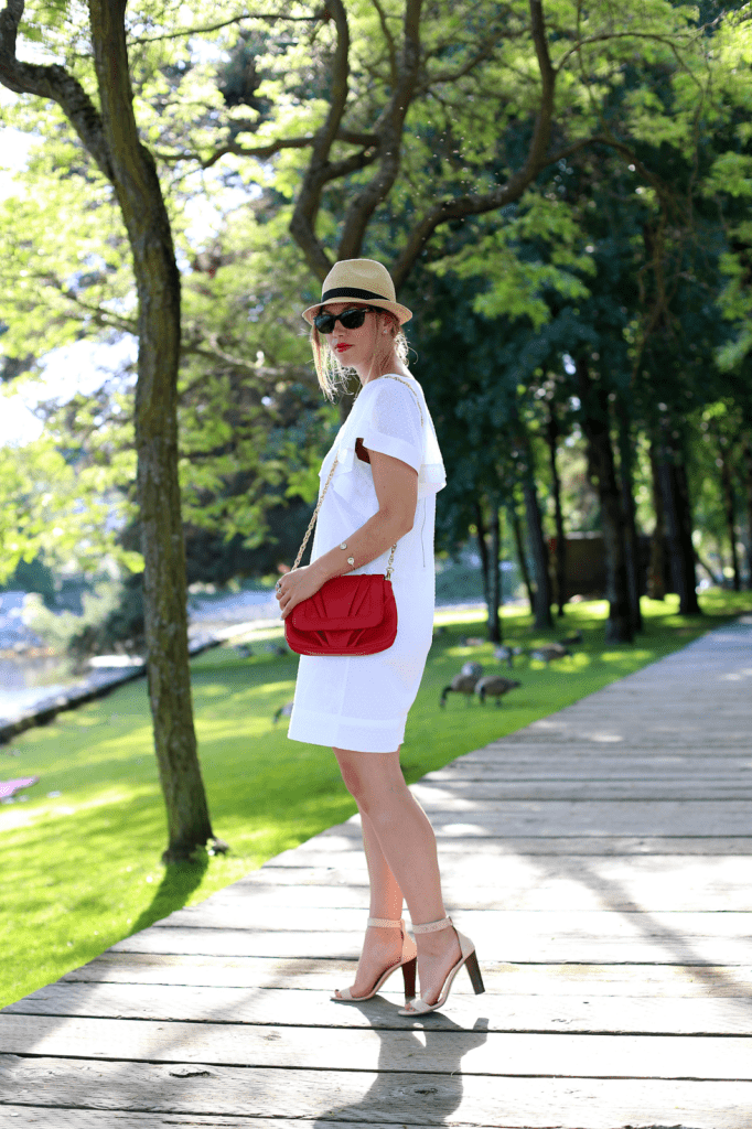 to vogue or bust, vancouver style blog, vancouver fashion blog, vancouver fashion, canadian fashion blog, alexandra grant, jcrew dress, gap hat, jcrew heels, mary nichols bag, summer style, love coco earrings, top vancouver style blog, top canadian fashion blog, top style blog