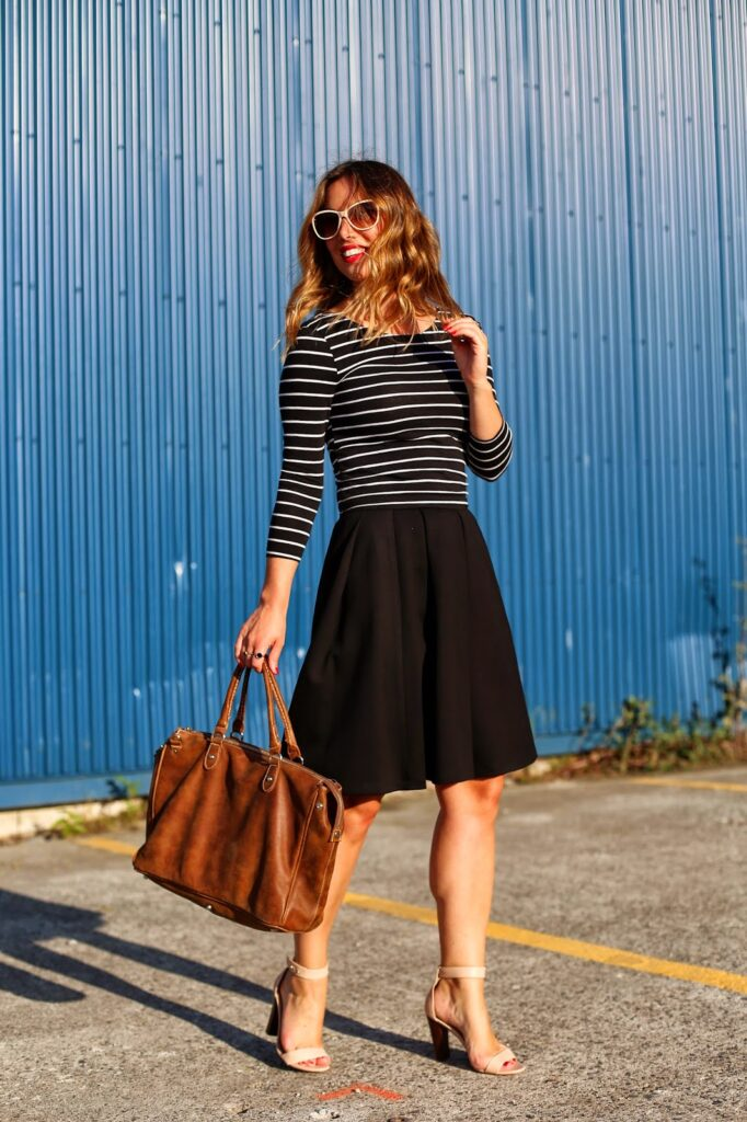 to vogue or bust, vancouver style blog, vancouver fashion blog, canadian fashion blog, vancouver style, vancouver fashion, alexandra grant, femme style, summer style, striped shirt, black obakki pleated skirt, j.crew heels, roots bag, h and m sunglasses, parisian chic, parisian style, top style blog, top fashion blog, top vancouver style blog, top vancouver fashion blog
