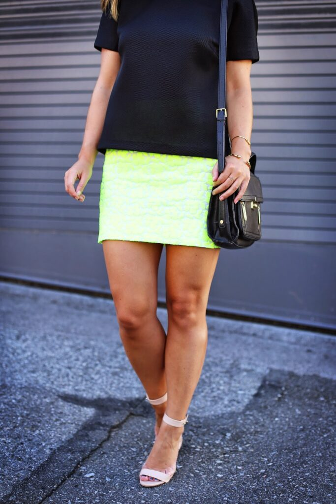 to vogue or bust, vancouver style blog, vancouver fashion blog, alexandra grant, how to style neon, neon and black, 424 fifth perforated top, j.crew neon skirt, j.crew stacked heels, 3.1 phillip lim for target bag, h and m sunglasses, viva blanca jewelry, canadian fashion blog, summer style, styling neon for summer, canadian top blogger, top vancouver style blog, best vancouver style blog, top vancouver fashion blog, best vancouver fashion blog, top style blog, top fashion blog