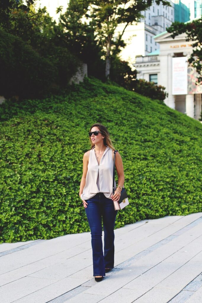 to vogue or bust, vancouver style blog, vancouver fashion blog, vancouver fashion, canadian fashion blog, alexandra grant, james jeans boot cut jeans, aritzia wilfred silk blouse, zara color block bag, j.crew everly pumps, brooklyn designs alexandra necklace, viva blanca bracelets, how to style boot cut jeans, how to wear boot cut jeans, casual chic summer style