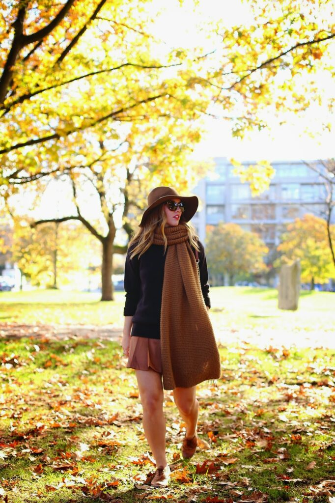 to vogue or bust, vancouver style blog, vancouver fashion blog, vancouver travel blog, canadian fashion blog, canadian style blog, canadian travel blog, alexandra grant, zara knit scarf, club monaco pleated skirt, joe fresh crew neck sweater, shoe embassy brogues, monoprix floppy hat, rebecca minkoff mini mac bag, daniel wellington rose gold watch, sole society cat eye sunglasses, how to style black and brown together, how to style a floppy hat, how to wear an oversized scarf, schoolgirl style, what to wear with pleated skirts, fall colors 2014, cute fall looks, fall outfit ideas, best fashion blog, best style blog, best travel blog, top fashion blog, top style blog, top travel blog